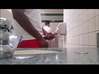 Black guy caught jacking in public restroom