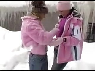 lesbian teens play and rub each others pussy out in the snow