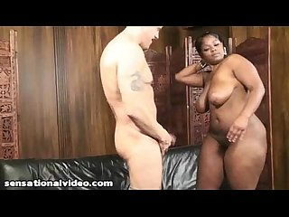 Sexy Black BBW Teen Gets Her Ass Oiled Up By Huge White Cock