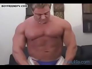 Sky woods Big beefy guy teasing thongs Ass