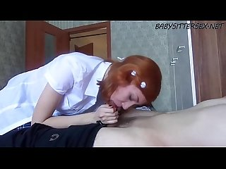 Euro redhead babysitter porn gives the boss a blowjob babysittersex period net