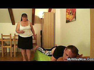 Wife leaves and fat mom-in-law jumps at his meat