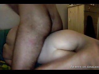 Sexy ass naked babe eats BF's cum