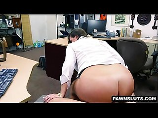 Brunette babe getting a facial at the pawn shop