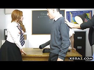 Exchange student welcomes by teens and their horny teacher