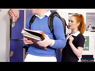 Redhead schoolgirl teen bounces her big ass on a new student