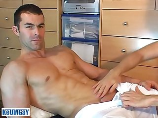 Nicolas a real str8 soccer player get wanked his huge cock by a guy