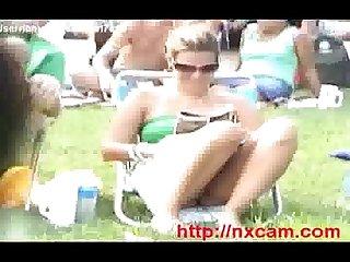 Upskirt outdoor shot of university girl