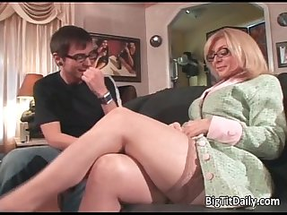 Sexy blonde milf with big tits seduced