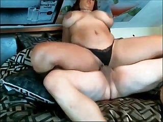 Chunky chick fucked with panties on