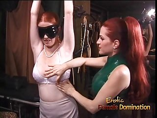 Latex clad redhead wench has her way with a freckled ginger hussy