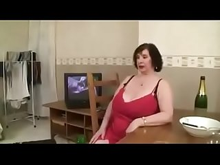 French gilf olga satisfying her guest with her giant natural tits
