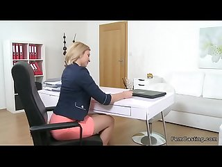 Female agent finger fucked in office