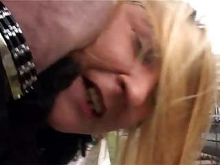 He picks up a blonde mature passerby and he brutalizes her