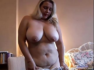 Super cute busty BBW in sexy lingerie plays with her juicy pussy for you