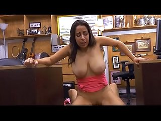 Big titty brunette Nina riding dick in da pawn shop office