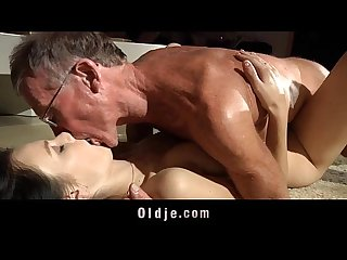 Nasty lucianna takes two old dicks one in mouth one in doggie