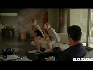 Vixen com rich boss gets threesome with two blondes