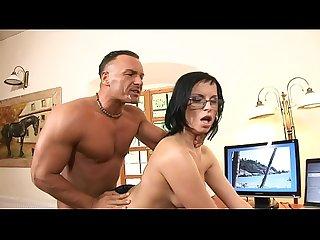 Smokin' brunette in glasses and fishnets Renata Black fucks and sucks her boss in the office