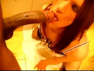 Skinny white tgirl takes massive black cock up her hole
