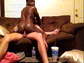 My black friend riding my big white cock