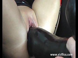 I love gigantic dildos stretching my huge pussy