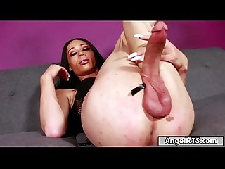 Big cock black Ts ashley stacks jerking off her thick dick