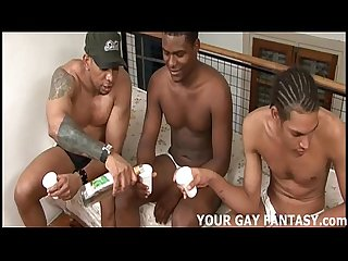 Twink takes three ghetto boys big cocks