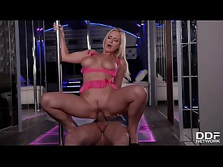 Blonde stripper Nathaly Cherie rides thick dick with her tight asshole