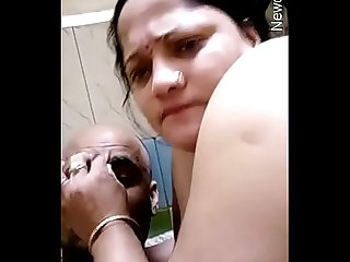 Horny indian wife nude dance and huby boob sucking with clear hindi audio