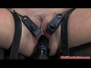 Nipple clamped slut handles violet wand