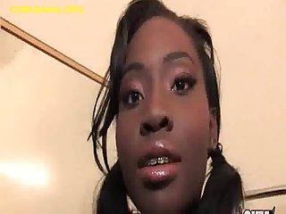 Ebony Babe Sucks White Cocks