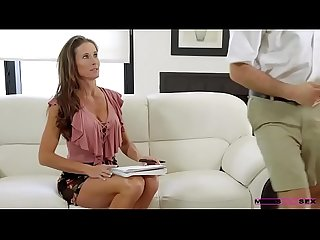 Sofie Marie mom catches her daughter's boyfriend alone and decides to fuck him while waiting for..