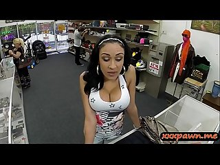 Busty babe sucks off and screwed hard by nasty pawn guy