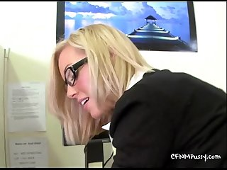 Two busty secretaries swallow two clients loads