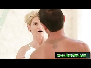 Blonde milf prepare her client for massage - India Summer & Tommy Gunn