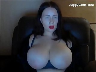 Goth girl shows huge tits on cam