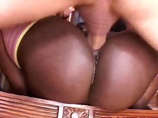 Hot ebony babe gets pussy pounded by lucky guy