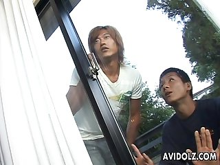 Dudes spy on the asian slut who masturbates passionately