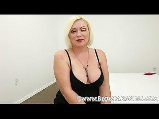 Bbw blonde with big tits sucks off 6 guys