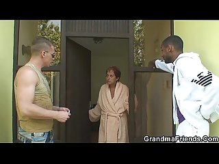 Two dudes have fun with very old granny