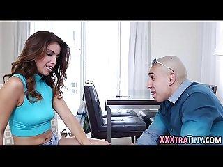 Teeny latina strokes cock