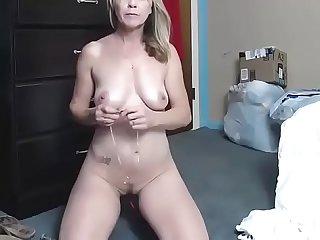 Milf blonde bigboobs fuck dildo