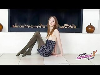 Skiny teen teasing in shiny pantyhose and panties