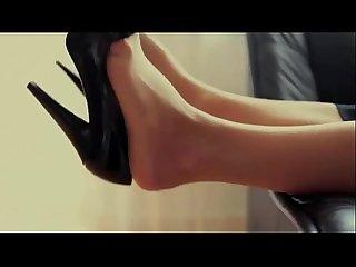 Lovelysweet blonde in black high heels and tan pantyhose(red coloured toenails)