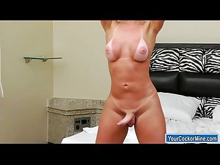 Big cock shemale carla novaes shows off body and jerks cock