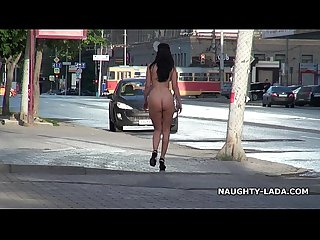 Fun nude on the street