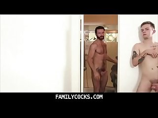 Teen step son caught jerking off to hot hairy dad in shower and sucks his dick familycocks com