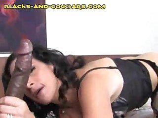 Cougar sucks black stud