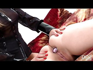 Dominatrix Eva Parcker lets submissive Angell Summers lick her shaved pussy
